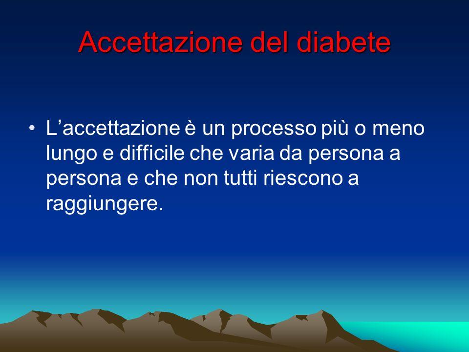 Accettazione del diabete Laccettazione è un processo più o meno lungo e difficile che varia da persona a persona e che non tutti riescono a raggiunger