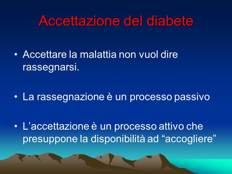 Accettazione del diabete Accettare la malattia non vuol dire rassegnarsi. La rassegnazione è un processo passivo Laccettazione è un processo attivo ch
