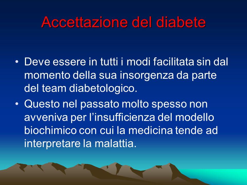 Accettazione del diabete Deve essere in tutti i modi facilitata sin dal momento della sua insorgenza da parte del team diabetologico. Questo nel passa