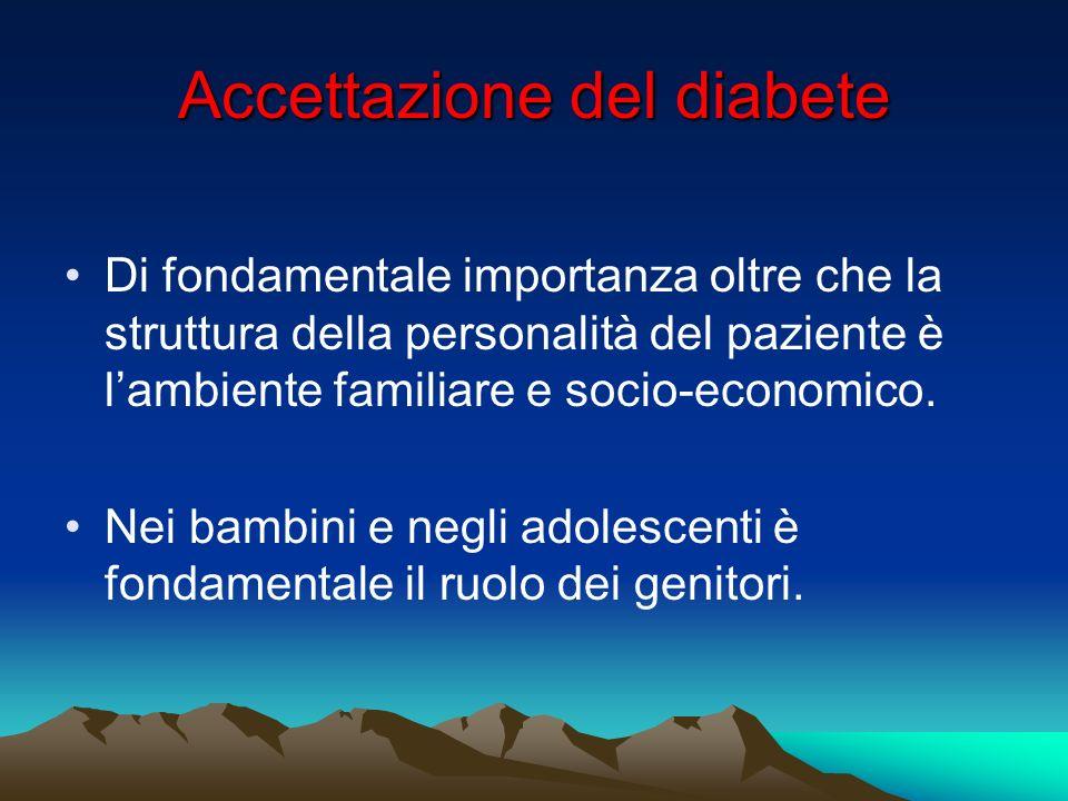 Accettazione del diabete Di fondamentale importanza oltre che la struttura della personalità del paziente è lambiente familiare e socio-economico. Nei