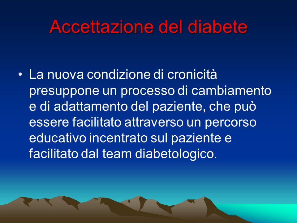 Accettazione del diabete Laccettazione della nuova condizione è un lungo processo di maturazione attraverso il quale ogni persona deve passare e che comporta specifiche fasi.