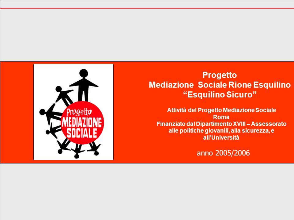 La Vision Il Progetto Mediazione Sociale, allinterno del Progetto Esquilino Sicuro (primo progetto integrato a Roma sulla sicurezza) è un cantiere sociale aperto che ha come finalità la ricostruzione del legame sociale per diffondere unesperienza di sicurezza urbana partecipata.
