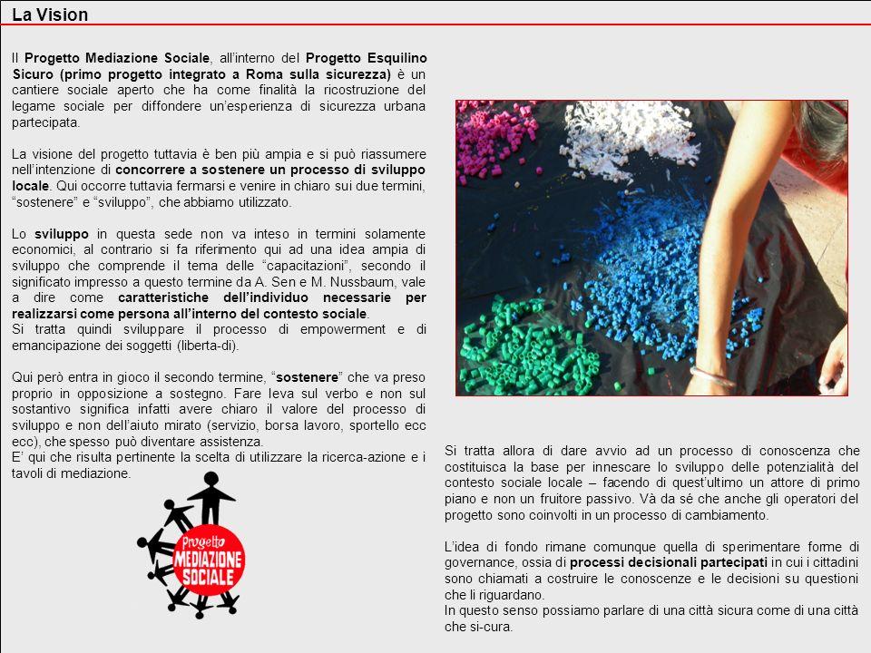 La Vision Il Progetto Mediazione Sociale, allinterno del Progetto Esquilino Sicuro (primo progetto integrato a Roma sulla sicurezza) è un cantiere soc