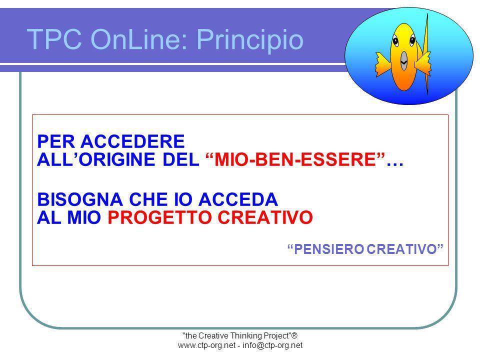 the Creative Thinking Project ® www.ctp-org.net - info@ctp-org.net SE VOGLIO AGIRE SULLORIGINE DEL MIO MAL-ESSERE DEVO PRIMA ACCEDERE ALLORIGINE DEL MIO-BEN-ESSERE … TPC OnLine: Principio