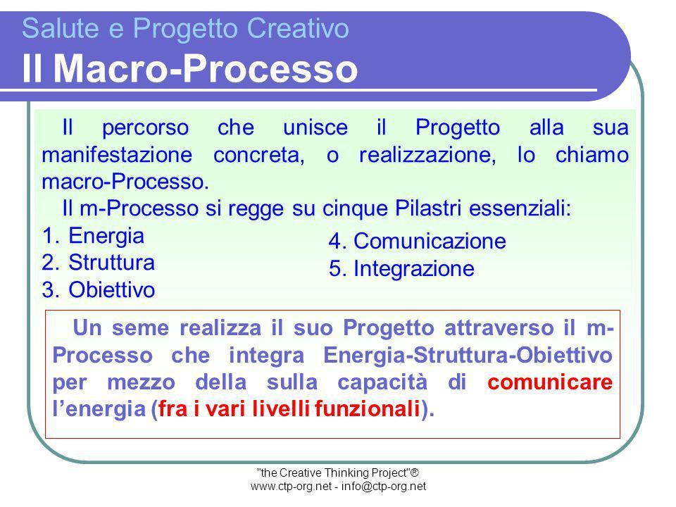 the Creative Thinking Project ® www.ctp-org.net - info@ctp-org.net Salute e Progetto Creativo Il Progetto Un Progetto è lespressione potenziale di un qualcosa che potrà o meno manifestarsi, concretizzarsi come esperienza.