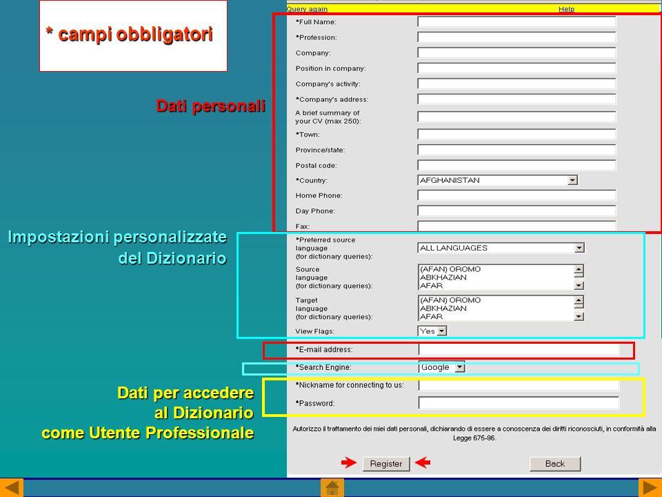 * campi obbligatori Dati personali Impostazioni personalizzate del Dizionario Dati per accedere al Dizionario come Utente Professionale