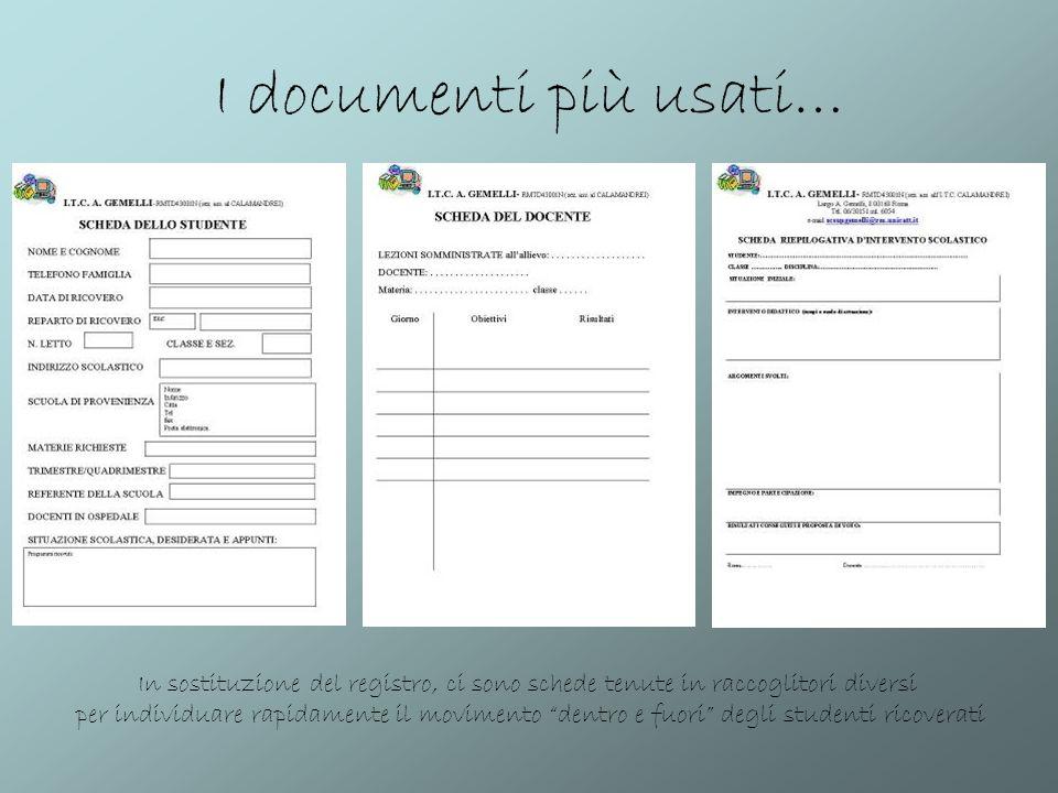 I documenti più usati… In sostituzione del registro, ci sono schede tenute in raccoglitori diversi per individuare rapidamente il movimento dentro e f