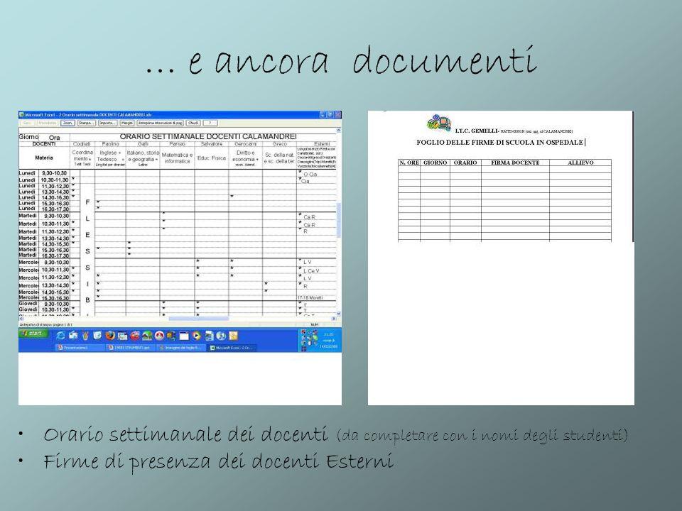 … e ancora documenti Orario settimanale dei docenti (da completare con i nomi degli studenti) Firme di presenza dei docenti Esterni