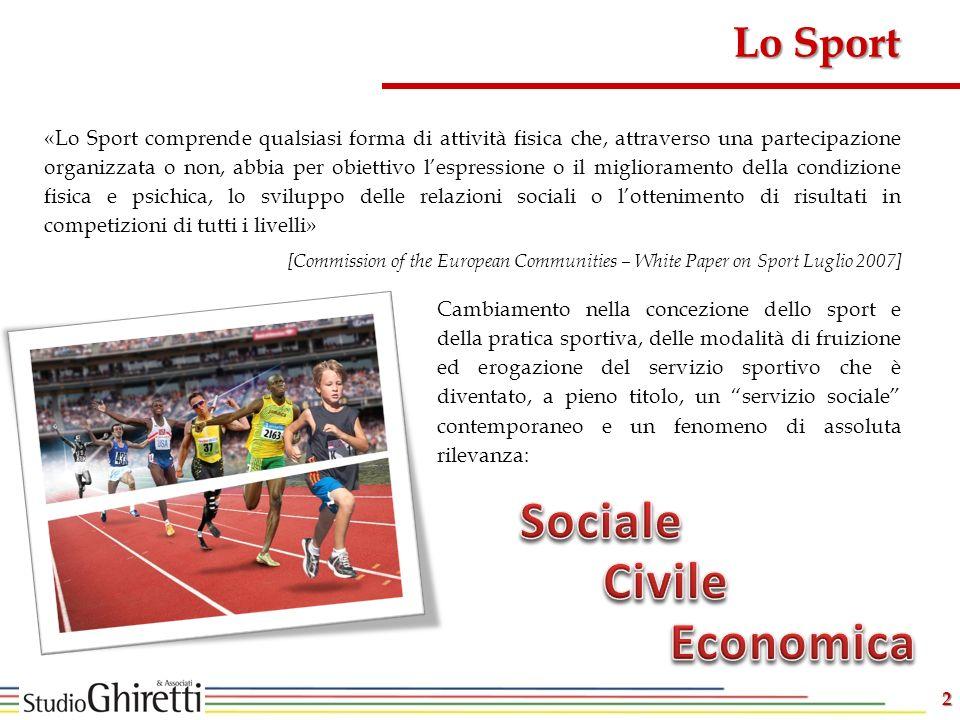2 Cambiamento nella concezione dello sport e della pratica sportiva, delle modalità di fruizione ed erogazione del servizio sportivo che è diventato,