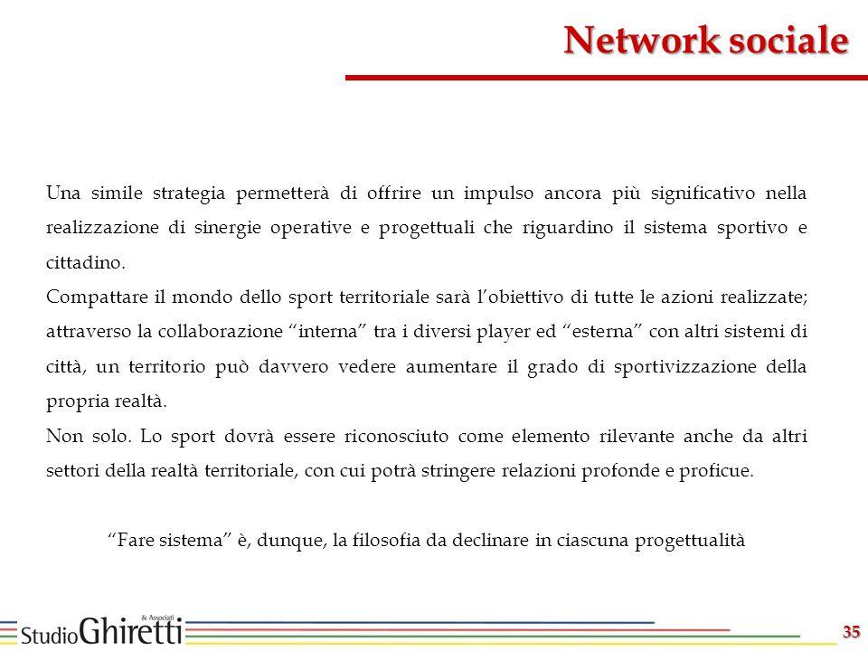 Network sociale 35 Una simile strategia permetterà di offrire un impulso ancora più significativo nella realizzazione di sinergie operative e progettuali che riguardino il sistema sportivo e cittadino.