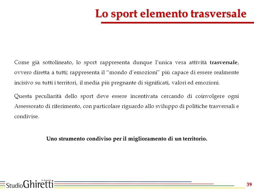 Lo sport elemento trasversale 39 Come già sottolineato, lo sport rappresenta dunque lunica vera attività trasversale, ovvero diretta a tutti; rapprese