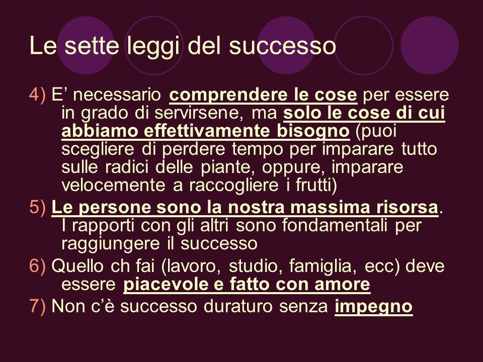 Le sette leggi del successo 4) E necessario comprendere le cose per essere in grado di servirsene, ma solo le cose di cui abbiamo effettivamente bisog