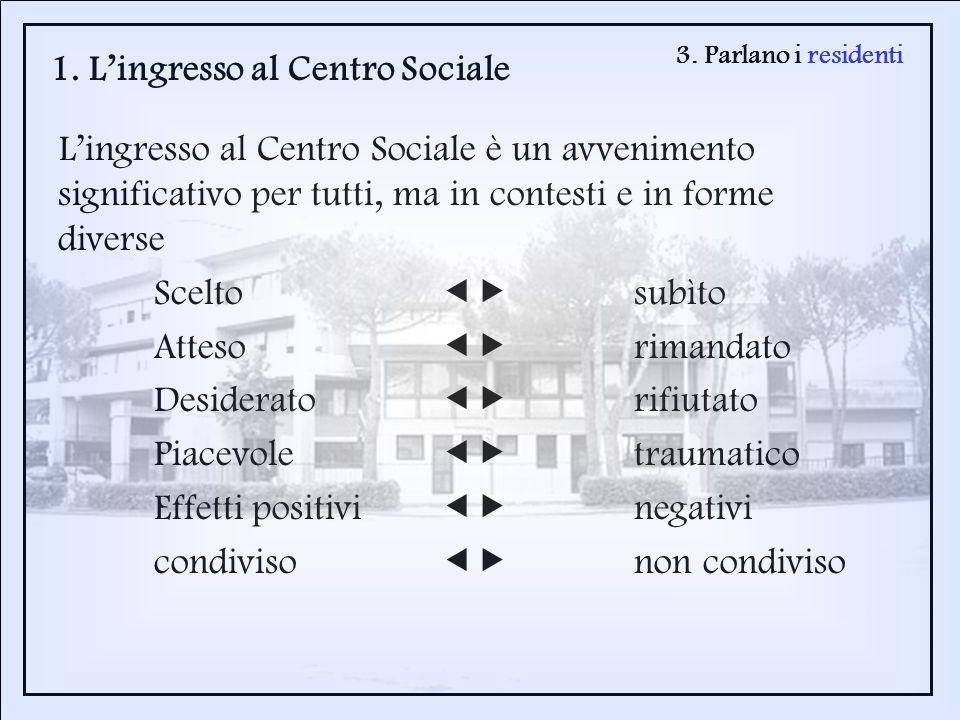 3. Parlano i residenti 1. Lingresso al Centro Sociale Lingresso al Centro Sociale è un avvenimento significativo per tutti, ma in contesti e in forme