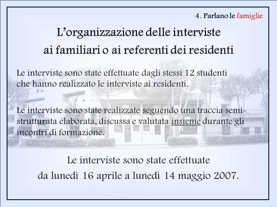 4. Parlano le famiglie Lorganizzazione delle interviste ai familiari o ai referenti dei residenti Le interviste sono state effettuate dagli stessi 12