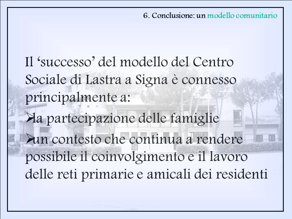 Il successo del modello del Centro Sociale di Lastra a Signa è connesso principalmente a: la partecipazione delle famiglie un contesto che continua a