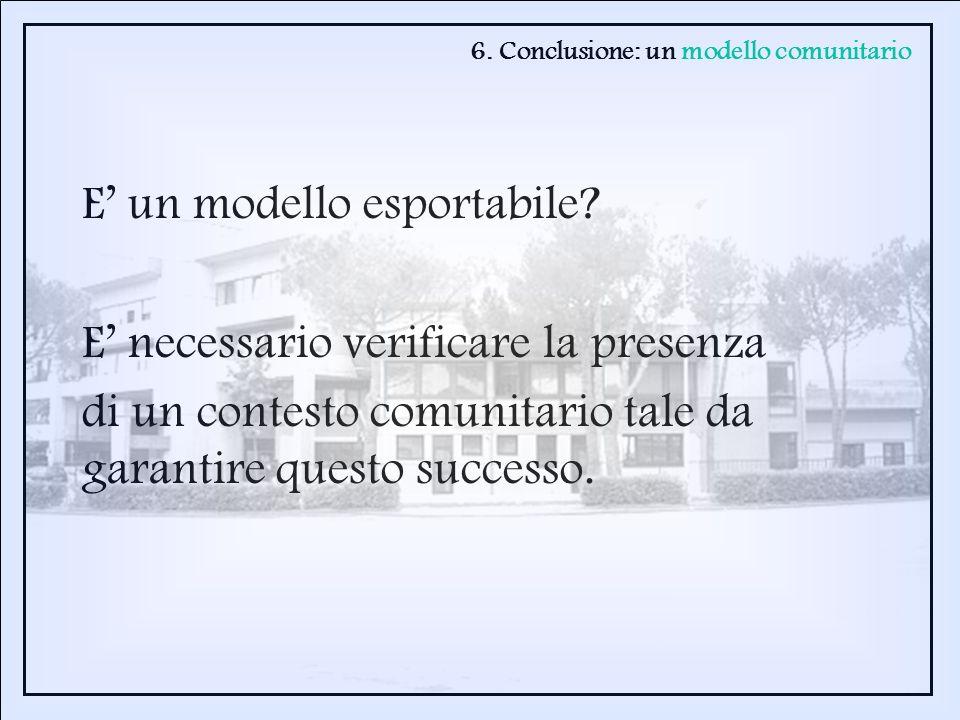 E un modello esportabile? E necessario verificare la presenza di un contesto comunitario tale da garantire questo successo. 6. Conclusione: un modello