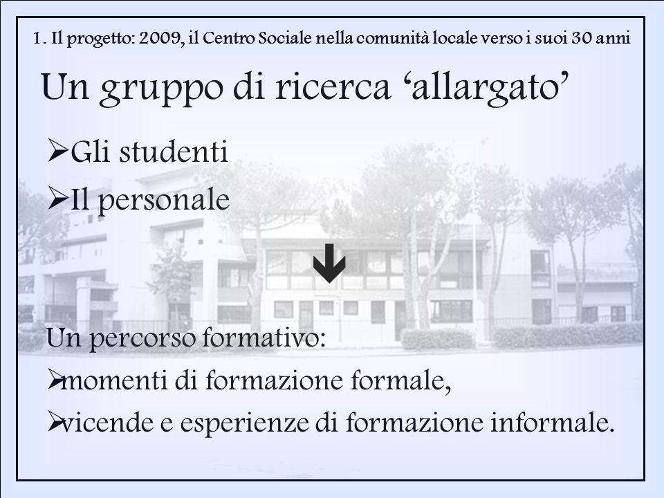 Gli studenti Il personale 1. Il progetto: 2009, il Centro Sociale nella comunità locale verso i suoi 30 anni Un gruppo di ricerca allargato Un percors