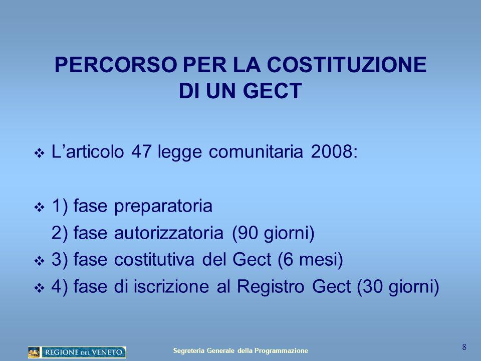 Segreteria Generale della Programmazione 8 PERCORSO PER LA COSTITUZIONE DI UN GECT Larticolo 47 legge comunitaria 2008: 1) fase preparatoria 2) fase autorizzatoria (90 giorni) 3) fase costitutiva del Gect (6 mesi) 4) fase di iscrizione al Registro Gect (30 giorni)
