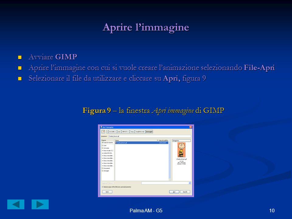 10Palma AM - G5 Aprire limmagine Avviare GIMP Avviare GIMP Aprire limmagine con cui si vuole creare lanimazione selezionando File-Apri Aprire limmagine con cui si vuole creare lanimazione selezionando File-Apri Selezionare il file da utilizzare e cliccare su Apri, figura 9 Selezionare il file da utilizzare e cliccare su Apri, figura 9 Figura 9 – la finestra Apri immagine di GIMP Figura 9 – la finestra Apri immagine di GIMP