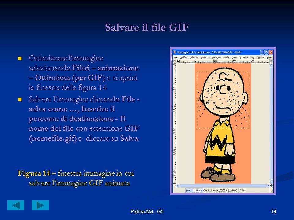 14Palma AM - G5 Salvare il file GIF Ottimizzare limmagine selezionando Filtri – animazione – Ottimizza (per GIF) e si aprirà la finestra della figura 14 Ottimizzare limmagine selezionando Filtri – animazione – Ottimizza (per GIF) e si aprirà la finestra della figura 14 Salvare limmagine cliccando File - salva come …, Inserire il percorso di destinazione - Il nome del file con estensione GIF (nomefile.gif) e cliccare su Salva Salvare limmagine cliccando File - salva come …, Inserire il percorso di destinazione - Il nome del file con estensione GIF (nomefile.gif) e cliccare su Salva Figura 14 – finestra immagine in cui salvare limmagine GIF animata