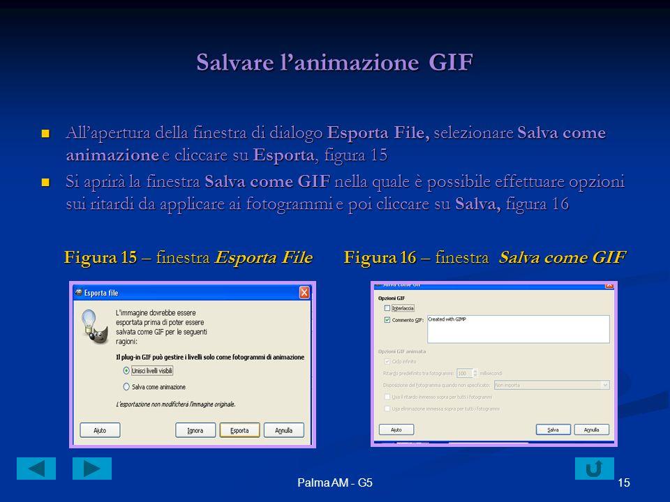 15Palma AM - G5 Salvare lanimazione GIF Allapertura della finestra di dialogo Esporta File, selezionare Salva come animazione e cliccare su Esporta, f