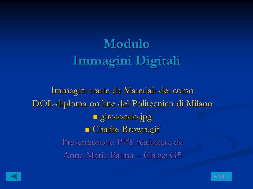 Modulo Immagini Digitali Immagini tratte da Materiali del corso DOL-diploma on line del Politecnico di Milano girotondo.jpg girotondo.jpg Charlie Brow