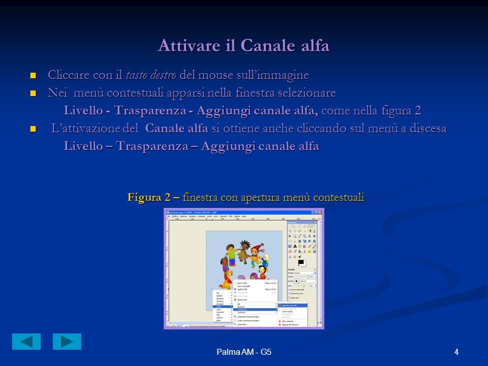 4Palma AM - G5 Attivare il Canale alfa Cliccare con il tasto destro del mouse sullimmagine Cliccare con il tasto destro del mouse sullimmagine Nei men
