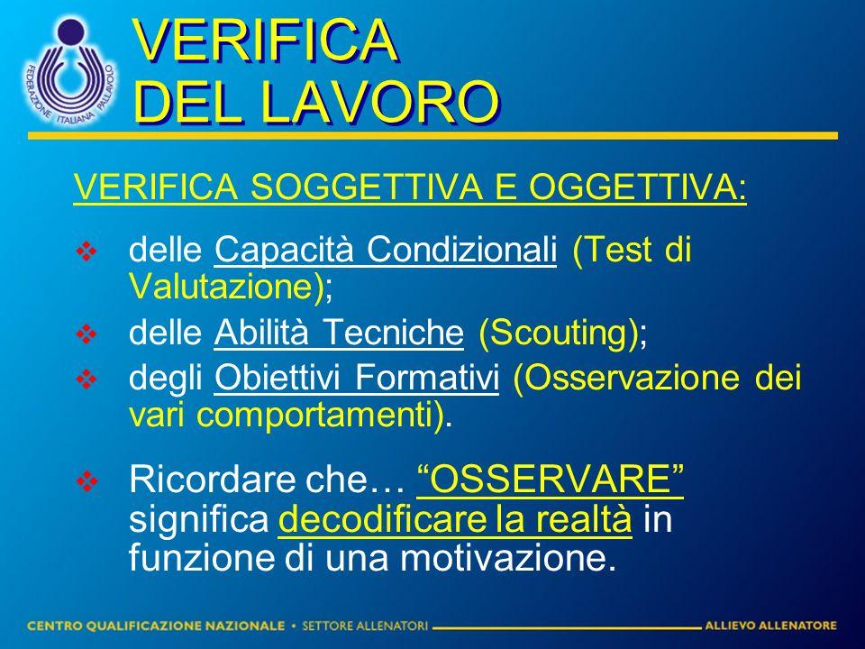 VERIFICA DEL LAVORO VERIFICA SOGGETTIVA E OGGETTIVA: delle Capacità Condizionali (Test di Valutazione); delle Abilità Tecniche (Scouting); degli Obiettivi Formativi (Osservazione dei vari comportamenti).