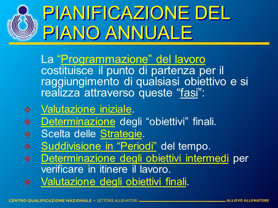 PIANIFICAZIONE DEL PIANO ANNUALE La Programmazione del lavoro costituisce il punto di partenza per il raggiungimento di qualsiasi obiettivo e si realizza attraverso queste fasi: Valutazione iniziale.