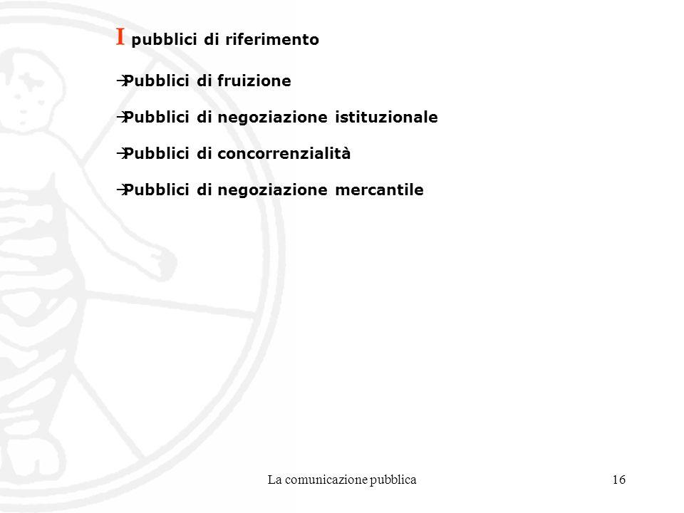 La comunicazione pubblica16 I pubblici di riferimento Pubblici di fruizione Pubblici di negoziazione istituzionale Pubblici di concorrenzialità Pubblici di negoziazione mercantile
