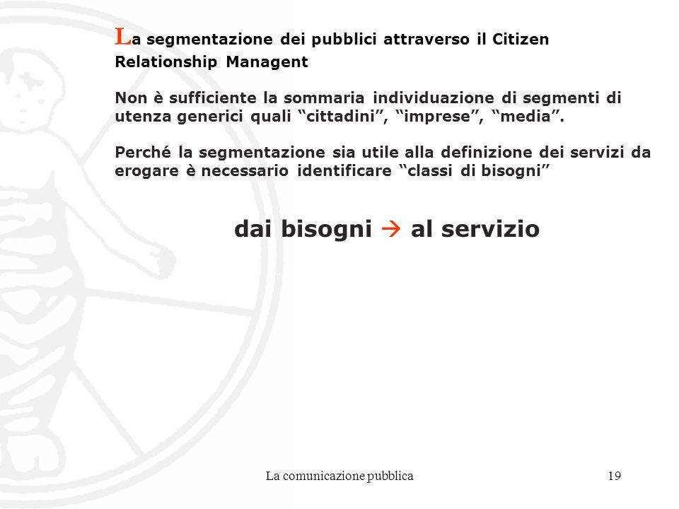 La comunicazione pubblica19 L a segmentazione dei pubblici attraverso il Citizen Relationship Managent Non è sufficiente la sommaria individuazione di segmenti di utenza generici quali cittadini, imprese, media.
