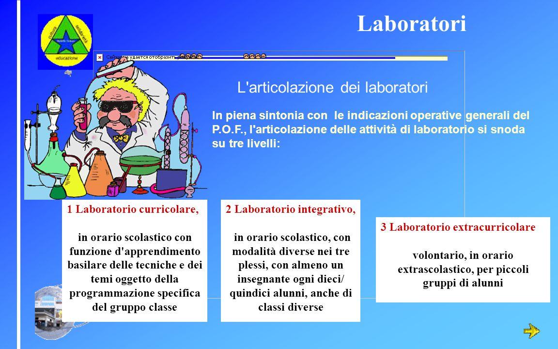 L'articolazione dei laboratori In piena sintonia con le indicazioni operative generali del P.O.F., l'articolazione delle attività di laboratorio si sn