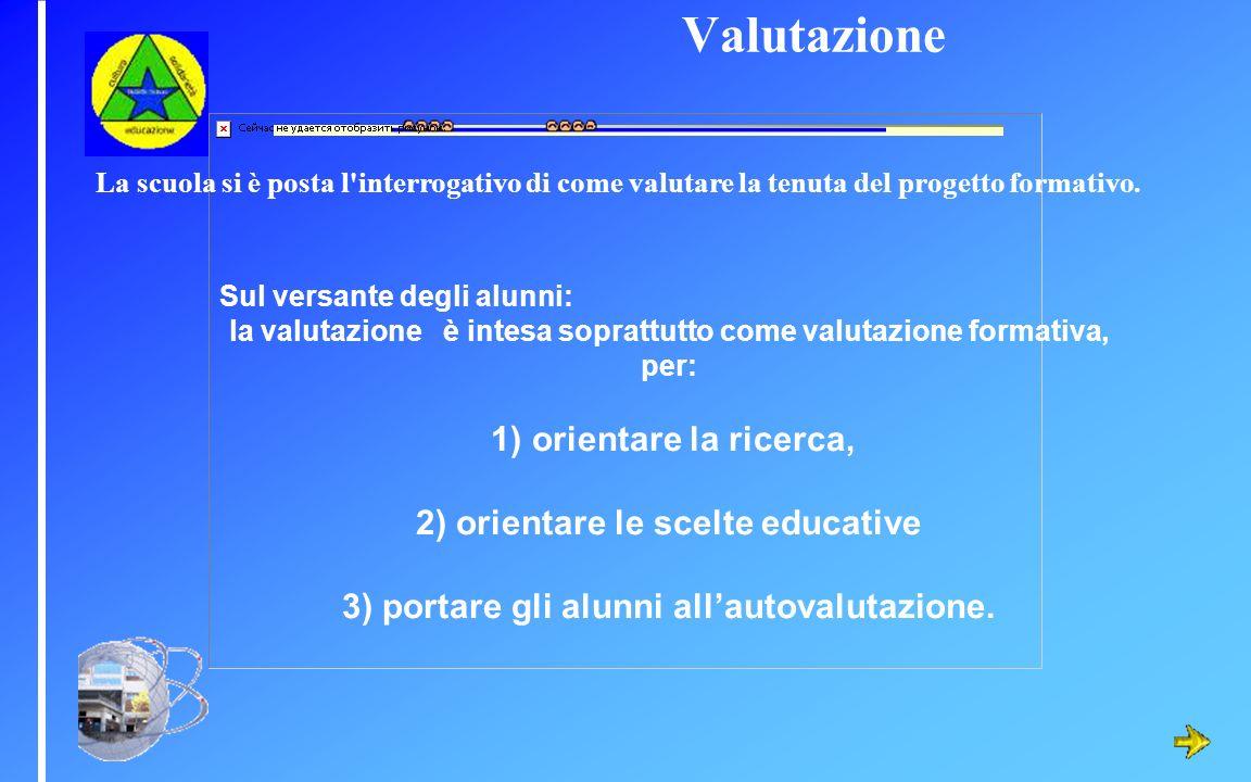 Sul versante degli alunni: la valutazione è intesa soprattutto come valutazione formativa, per: 1) orientare la ricerca, 2) orientare le scelte educat