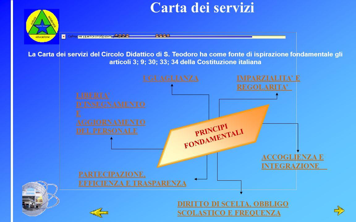 Carta dei servizi La Carta dei servizi del Circolo Didattico di S. Teodoro ha come fonte di ispirazione fondamentale gli articoli 3; 9; 30; 33; 34 del
