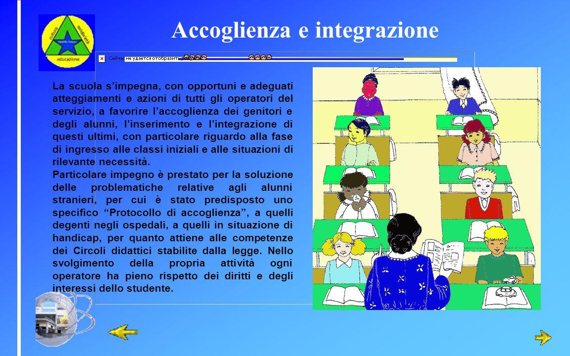 Accoglienza e integrazione La scuola simpegna, con opportuni e adeguati atteggiamenti e azioni di tutti gli operatori del servizio, a favorire laccogl