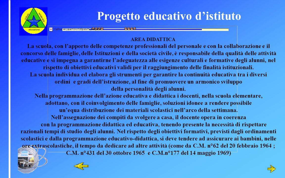 Progetto educativo distituto AREA DIDATTICA La scuola, con lapporto delle competenze professionali del personale e con la collaborazione e il concorso