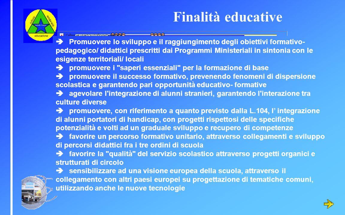 Promuovere lo sviluppo e il raggiungimento degli obiettivi formativo- pedagogico/ didattici prescritti dai Programmi Ministeriali in sintonia con le e