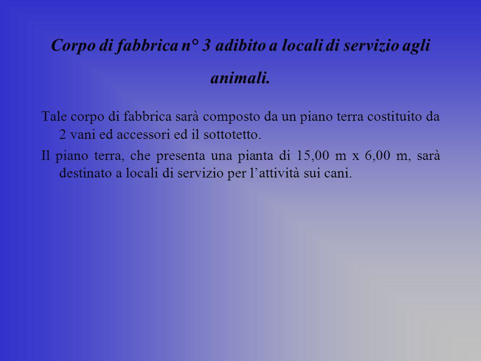 Corpo di fabbrica n° 3 adibito a locali di servizio agli animali.
