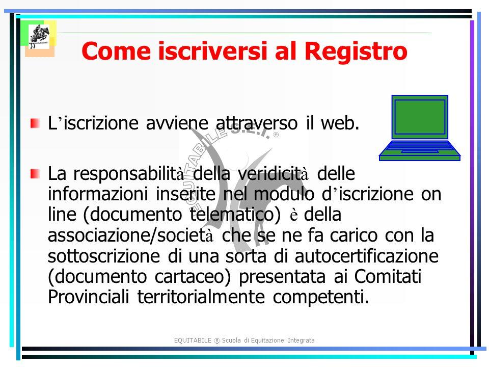 EQUITABILE ® Scuola di Equitazione Integrata Come iscriversi al Registro L iscrizione avviene attraverso il web.