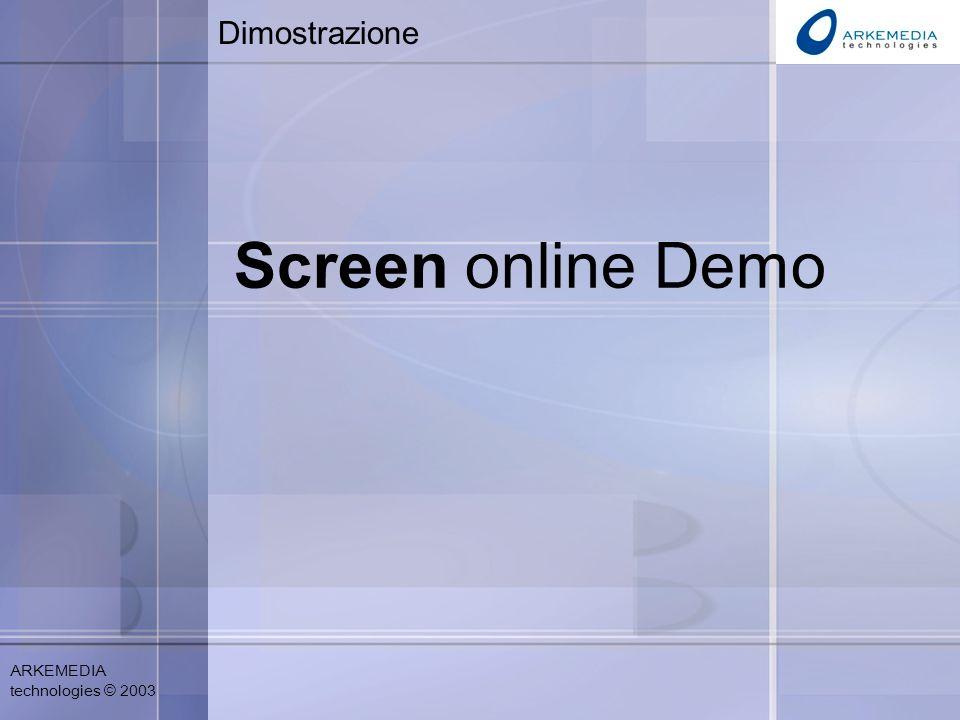 ARKEMEDIA technologies © 2003 Dimostrazione Screen online Demo