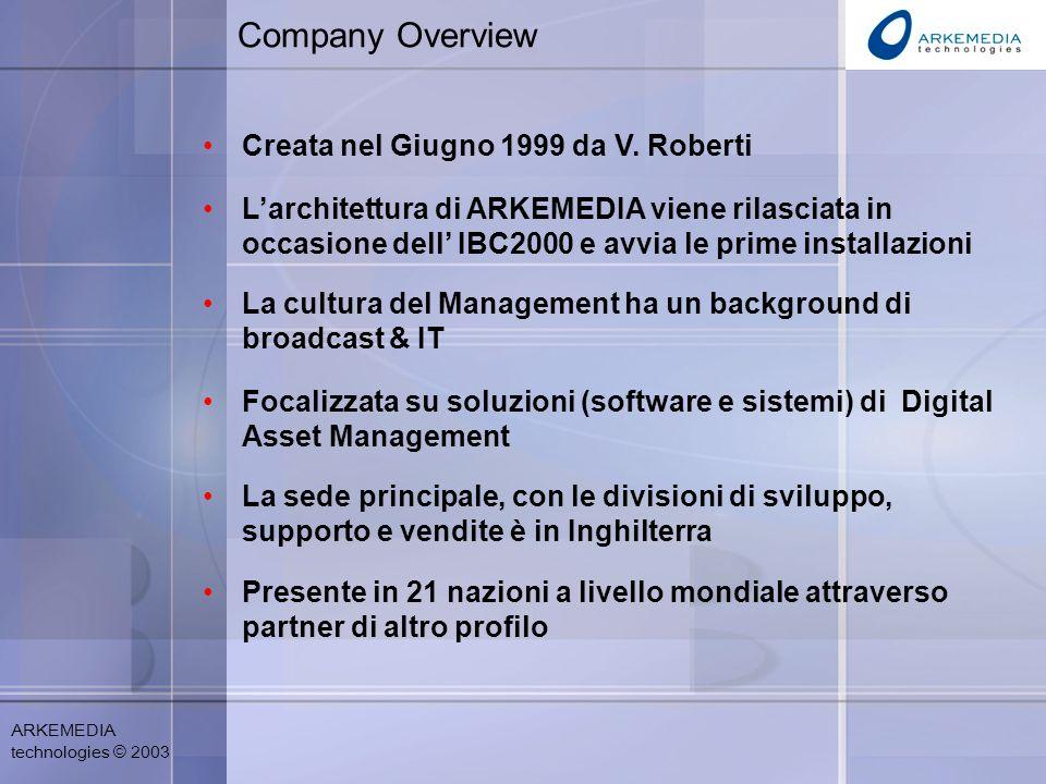 ARKEMEDIA technologies © 2003 Company Overview Creata nel Giugno 1999 da V.