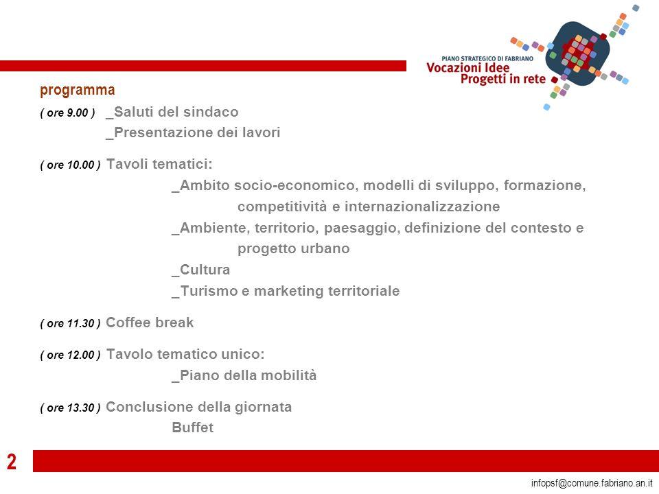 2 infopsf@comune.fabriano.an.it programma ( ore 9.00 ) _Saluti del sindaco _Presentazione dei lavori ( ore 10.00 ) Tavoli tematici: _Ambito socio-economico, modelli di sviluppo, formazione, competitività e internazionalizzazione _Ambiente, territorio, paesaggio, definizione del contesto e progetto urbano _Cultura _Turismo e marketing territoriale ( ore 11.30 ) Coffee break ( ore 12.00 ) Tavolo tematico unico: _Piano della mobilità ( ore 13.30 ) Conclusione della giornata Buffet