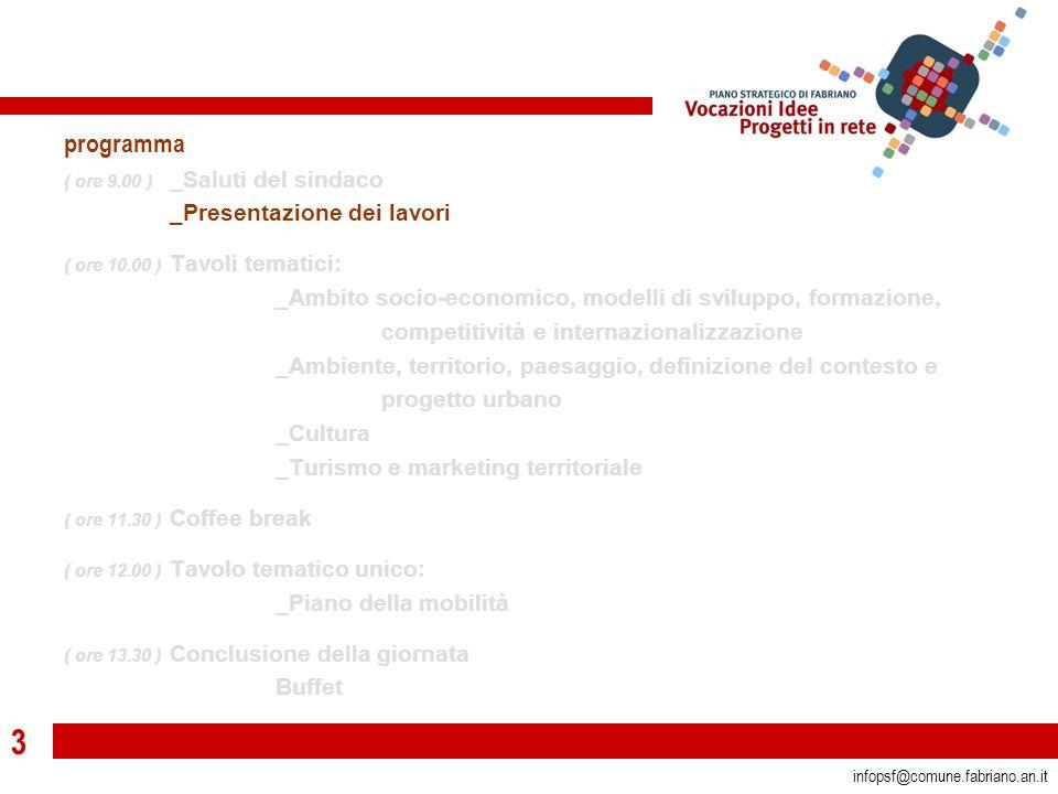 3 infopsf@comune.fabriano.an.it programma ( ore 9.00 ) _Saluti del sindaco _Presentazione dei lavori ( ore 10.00 ) Tavoli tematici: _Ambito socio-economico, modelli di sviluppo, formazione, competitività e internazionalizzazione _Ambiente, territorio, paesaggio, definizione del contesto e progetto urbano _Cultura _Turismo e marketing territoriale ( ore 11.30 ) Coffee break ( ore 12.00 ) Tavolo tematico unico: _Piano della mobilità ( ore 13.30 ) Conclusione della giornata Buffet