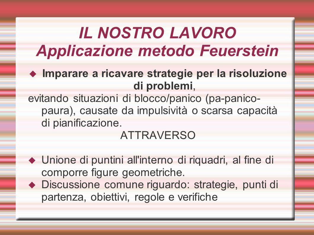 IL NOSTRO LAVORO Applicazione metodo Feuerstein Imparare a ricavare strategie per la risoluzione di problemi, evitando situazioni di blocco/panico (pa