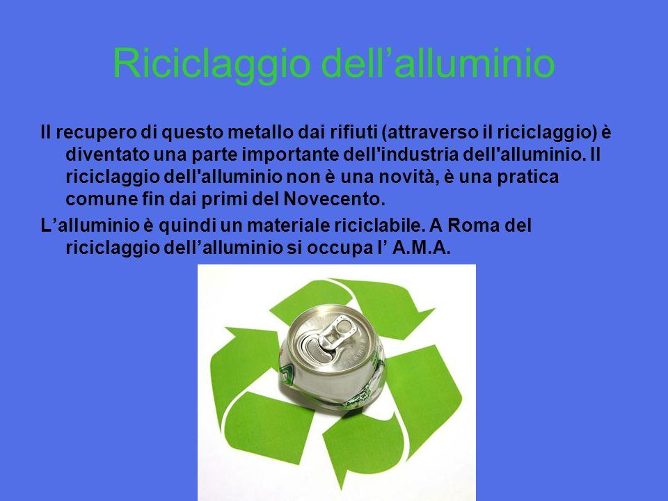 Riciclaggio dellalluminio Il recupero di questo metallo dai rifiuti (attraverso il riciclaggio) è diventato una parte importante dell industria dell alluminio.