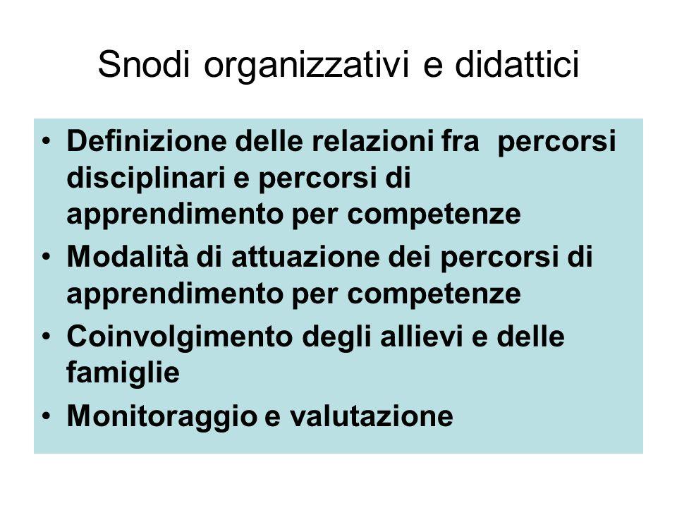 Snodi organizzativi e didattici Definizione delle relazioni fra percorsi disciplinari e percorsi di apprendimento per competenze Modalità di attuazione dei percorsi di apprendimento per competenze Coinvolgimento degli allievi e delle famiglie Monitoraggio e valutazione