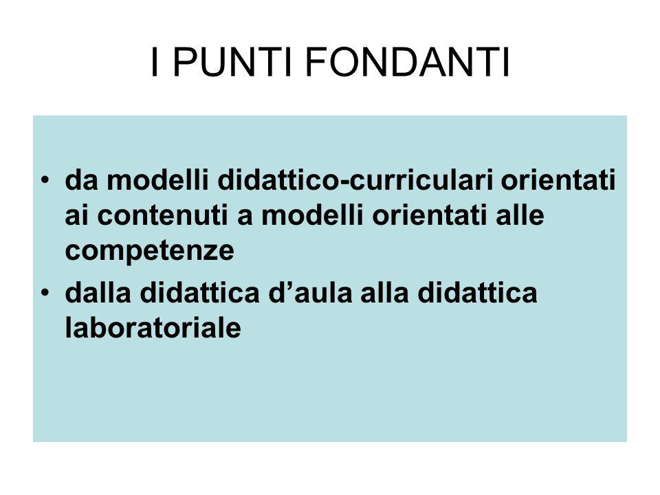 I PUNTI FONDANTI da modelli didattico-curriculari orientati ai contenuti a modelli orientati alle competenze dalla didattica daula alla didattica laboratoriale
