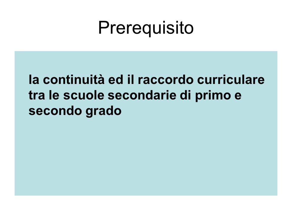 Prerequisito la continuità ed il raccordo curriculare tra le scuole secondarie di primo e secondo grado