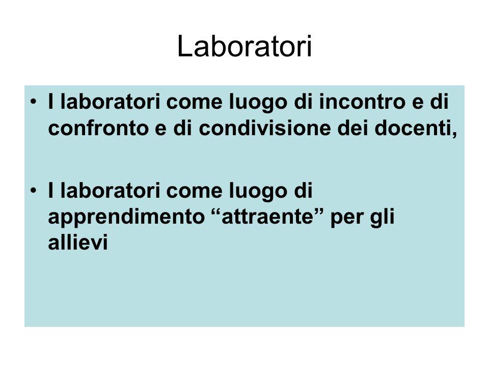 Laboratori I laboratori come luogo di incontro e di confronto e di condivisione dei docenti, I laboratori come luogo di apprendimento attraente per gli allievi