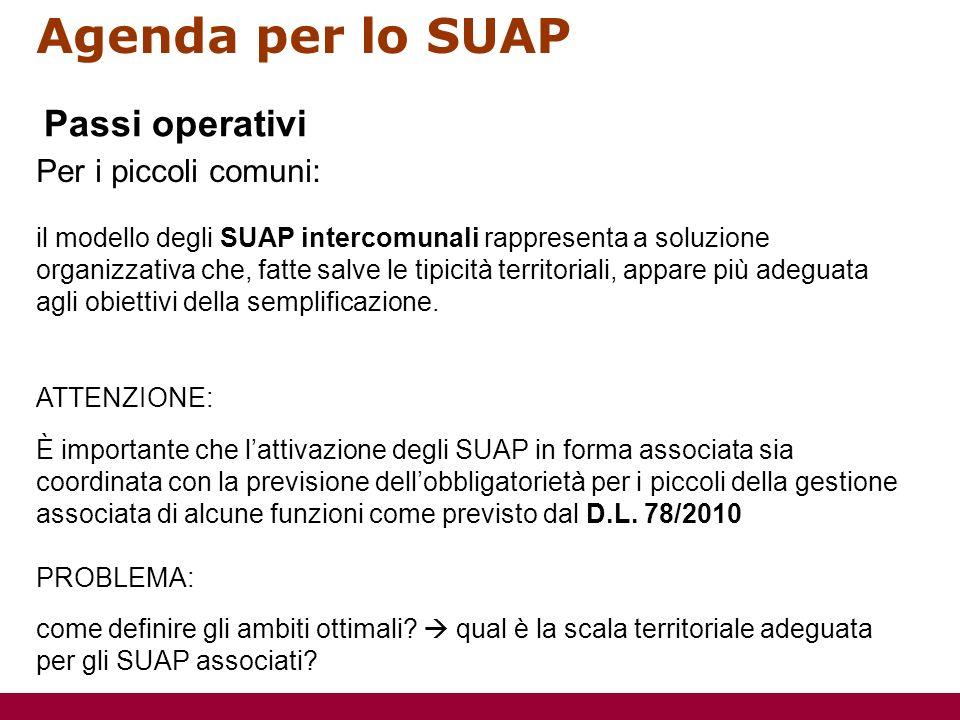 Agenda per lo SUAP Per i piccoli comuni: il modello degli SUAP intercomunali rappresenta a soluzione organizzativa che, fatte salve le tipicità territoriali, appare più adeguata agli obiettivi della semplificazione.